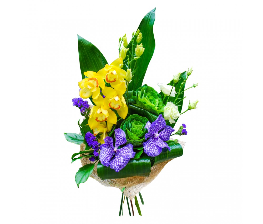 Букет с вандой и желтыми орхидеями