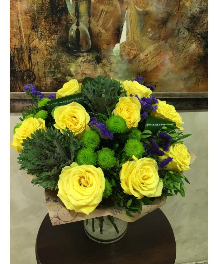 Букет № 358 из желтых роз