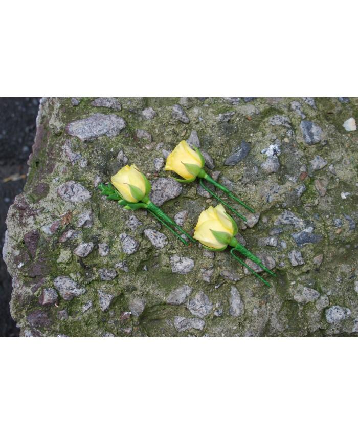 Заколки для волос из желтых роз