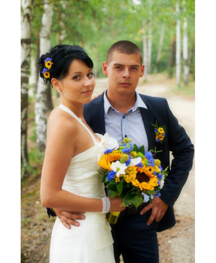 Букет невесты с подсолнухом и васильками