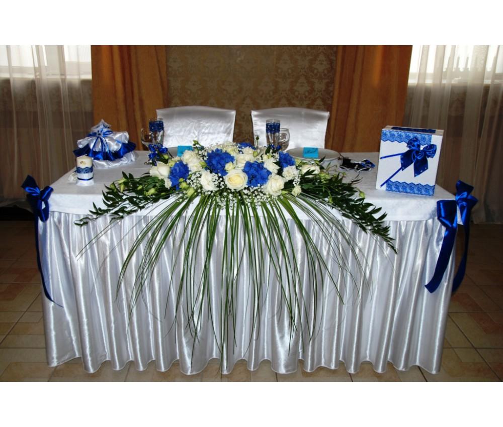 Оформление свадьбы с синей гортензией и белой эустомой