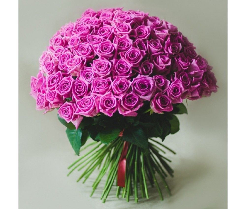 Букет 25 розовых роз 70 см.