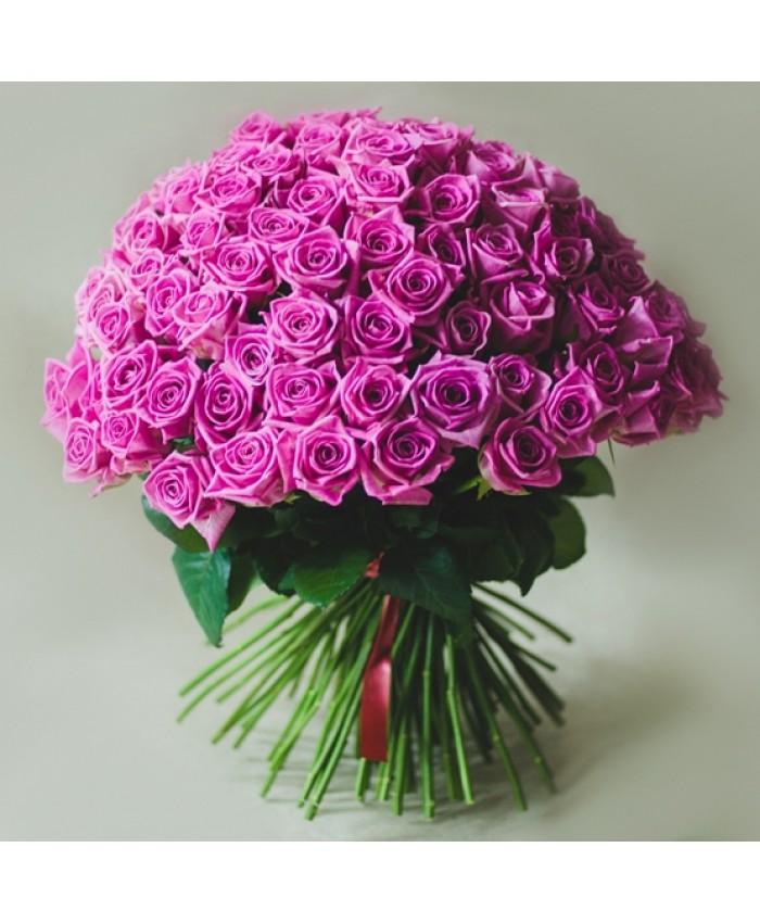 Букет 25 розовых  Уральских роз 70 см.