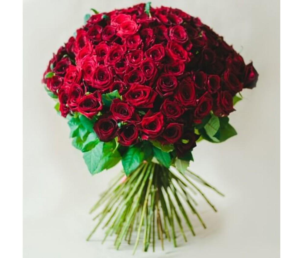 Букет 25 красных роз 60 см.